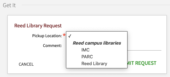 screenshot of Reed request options